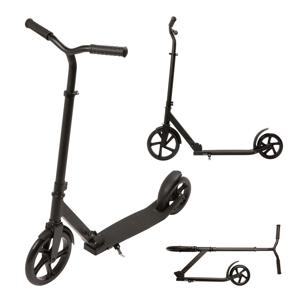 fun scooter roller tretroller bis 100 kg belastbar schwarz aluminium reflects ebay. Black Bedroom Furniture Sets. Home Design Ideas