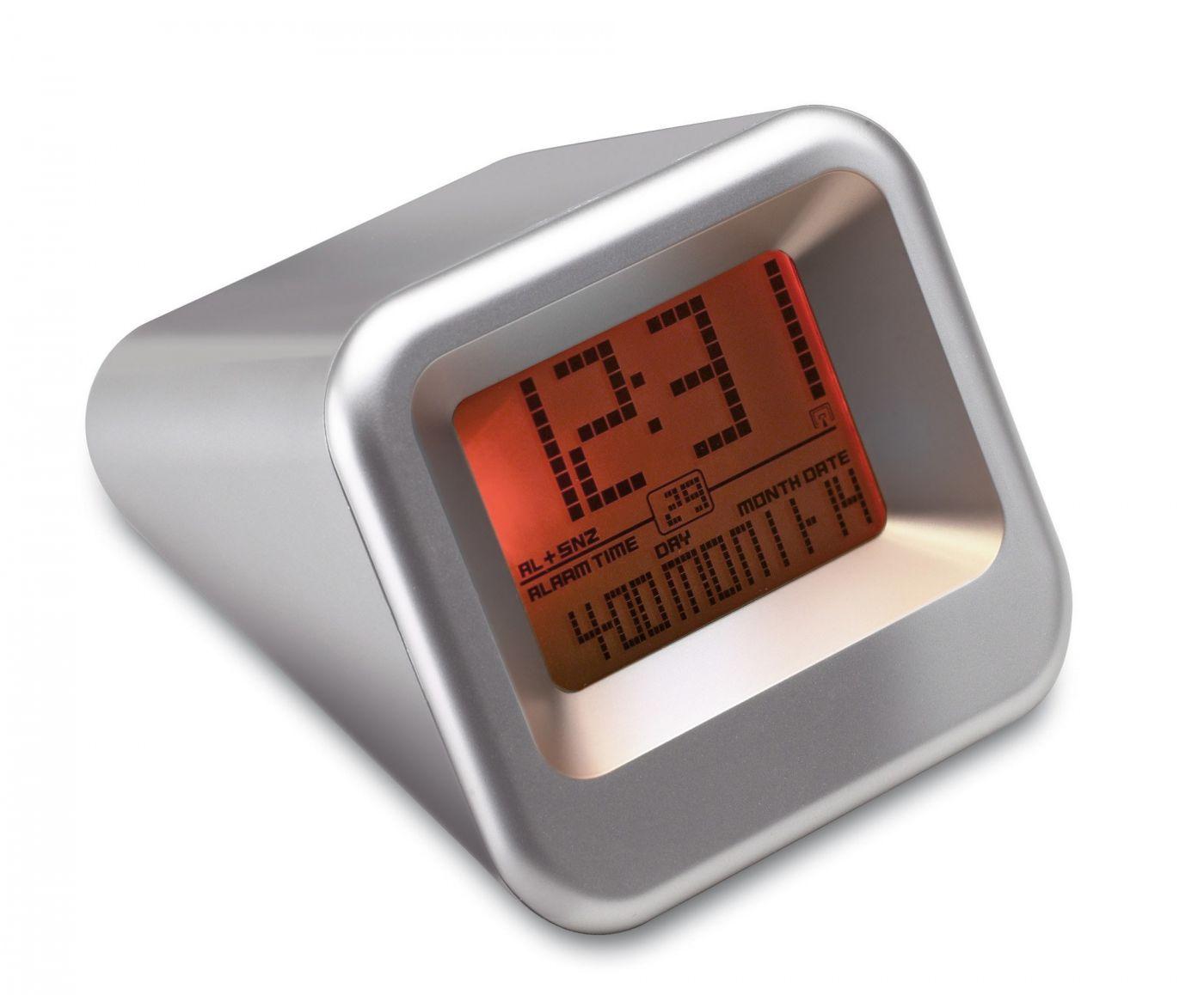 Digital Radio Alarm Travel Alarm Clock Design Silver Date